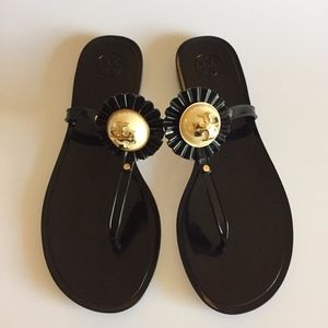 Tory Burch melody pearl black jelly sandals